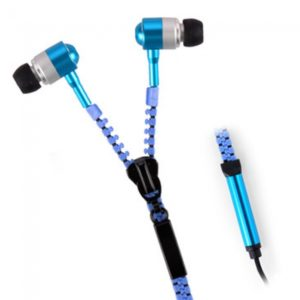 Universal Zipper Style Non-twine In-Ear Earphones with Microphone Blue