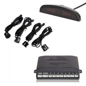 LED sensores del estacionamiento del coche de la exhibici¨®n de copia de seguridad Sistema de asistencia con BIBI sonido Negro