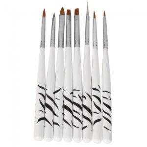 8pcs u?as Arte Pintura Pen Brush Set con mango blanco