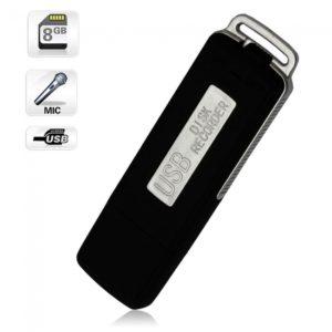 USB Grabadora digital de voz 8GB Llaveros Flash Drive UR-08 Negro