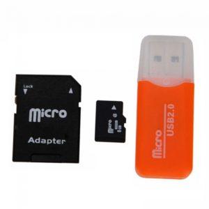 8GB Micro SD Card + SD Card Adapter + Card Reader Orange