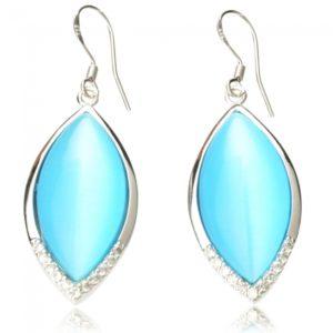 2pcs forma oval Opal 625 de plata Rhinestone Mujeres Pendientes Azul