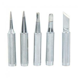 5pcs 900M-TI/K/4C/B/3.2D Metal Soldering Iron Tips Tools Pack Silver