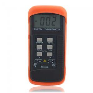 Term¨®metro Digital DM6802B port¨¢til de doble canal de tipo de contacto