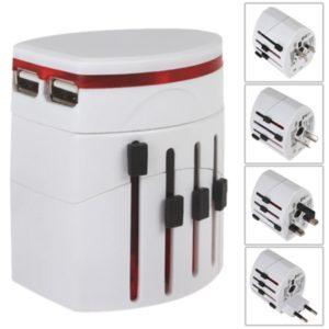 937 Doble adaptador de corriente WhiteUK Euro US AUS est¨¢ndar USB