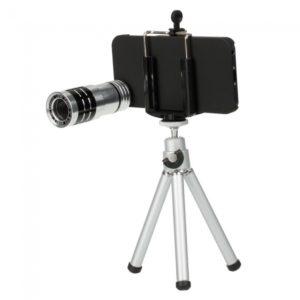 12X Lente Zoom Telescopio con tr¨ªpode para el iPhone 5 Plata y Negro