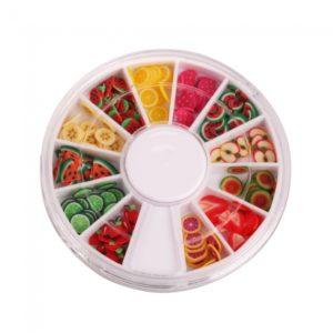 144pcs 3D Fimo rebanada de fruta fresca de u?as Cara Decoraci¨®n Arte