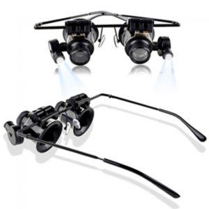 20X de la lupa de los vidrios del ojo de lupa joyero de la lente la reparaci¨®n del reloj de luz LED